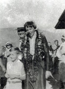 Wailuku attorney Albert E. Jenkins with Amelia Earhart at the Maalaea Seaplane Landing on Maui in the mid-1930s