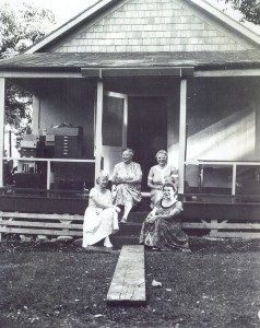 State District Court Magistrate Edna Jenkins and friends at the Hana Courthouse in Hana, Maui in the mid-1950s
